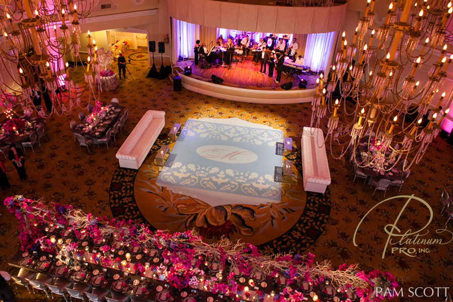 custom-seamless-grey-blue-and-fucshia-dance-floor-monogrammed-dance-floor-hotel-del-coronado-weddings-pam-scott-photo-emily-smiley-fine-weddings-and-soirees